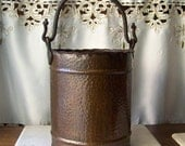 Antique Hammered Copper Ash Pail With Wrought Brass Double Serpent Handle Dovetail Seams circa 1900s