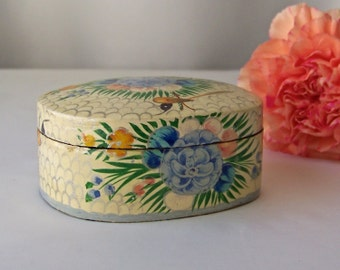 Vintage Trinket Box Wood Hand Painted Blue Flowers and Tiny Birds Lacquered Wood Box Jewelry Box Secret Treasures Vintage 1970s