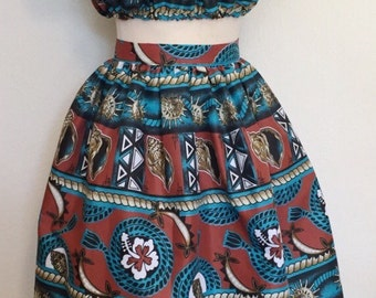 Vintage 1950s inspired Hawaiian novelty print full skirt with matching crop gypsy top set XS to XL rockabilly VLV