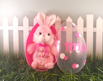 Personalized Jumbo Easter Egg and Easter Bunny Set, Easter Egg, Easter Bunny, Baby shower gift, Monogrammed Easter Egg