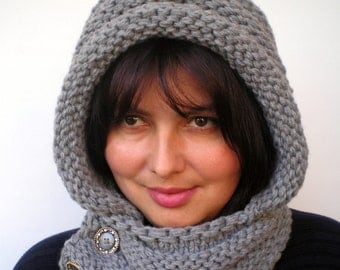 Eternity  Grey Color    Hoodie Mixed Wool Yarn Hood Woman Chunky  Hooded Cowl NEW
