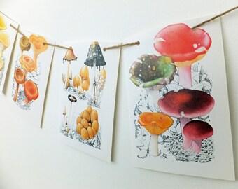 Wall Garland, Mushroom Bunting, Fungus, Autumn Bunting, Autumn Wedding Decor. Fall Wedding backdrop, Eco-friendly banner, Toadstool bunting