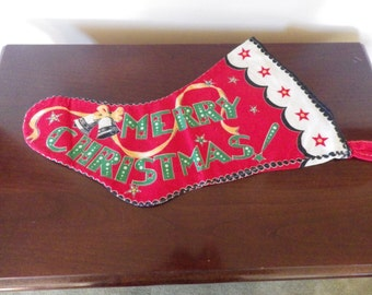 Vintage 1940s 1950s Flannel Christmas Stocking