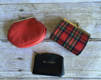 Vintage Collection of Leather Wallets Coin Purses