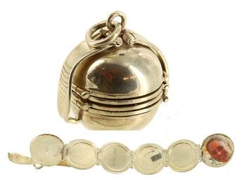 "Vintage Darling Sterling 6 Part Expandable Ball Locket Charm Pendant 1"""
