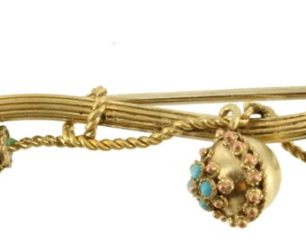 Antique Victorian GF Gold Filled Organic Branch Dangle Turquoise Flower Pin 2""
