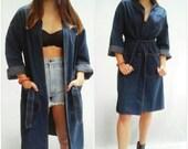 Blue Raw Denim LEVIS Kimono Jacket Dress Vintage Open Front Boxy Jacket Boho Hippie Asian Minimal Minimalist XS S M L XL