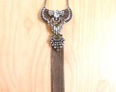 Art Deco Rhinestone Necklace Antique Gold Metal Tassel Flapper Necklace, Flapper Accessories,Evening, 20s, Great Gatsby, Long Elegant