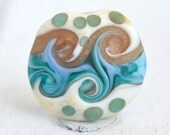 ocean aqua coin shaped lamp work bead beach bead sea glass lamp work with shell murrini SRA handmade focal 81516-3