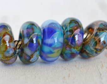 ocean treasures... big hole beads ....Euro style glass set of five lampwork beads, for european charm bracelets... SRA handmade P80116-1