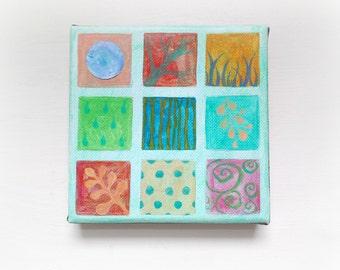 original mixed media painting, nature art painting, square painting, grid pattern, geometric art, retro art, wall art, home decor, art gifts