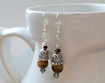 Tiger's Eye Small Dangle Earrings With Sterling Silver Hooks, Nickel Free Jewelry, Sterling Silver Jewelry, Gemstone Earrings, Tigereye