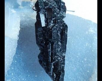 Nugget Black Quartz Gemstone Drilled Focal Bead Pendant,62x23x20mm,34.00g