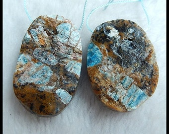 2 pcs Drusy Petrified Wood Opal Pendant Bead,46x28x12mm,41x29x12mm,44.47g