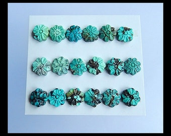 SALE,18 PCS Carved Turquoise Flower Gemstone Cabochon,9.3g