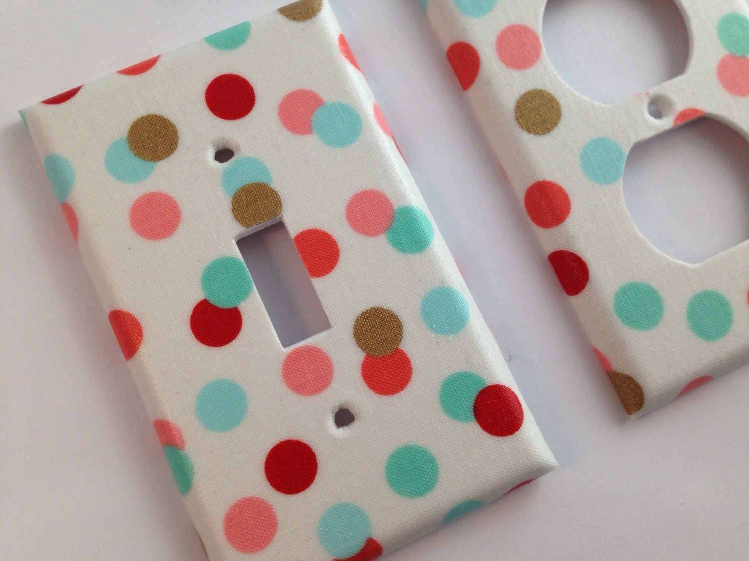 Mint Coral Gold Decor Light Switch Cover Mint Polka Dots