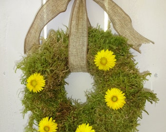 Autumn Wreath   Moss Wreath  Natural Wreath  Small Wreath  Straw Flower Wreath  Indoor Wreath  Home Decor  Get Well Gift