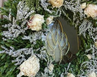 Boxwood Wreath   Peony Wreath  Natural Wreath  Wedding Wreath  Door Wreath  Elegant Wreath  Boxwood Wreath  Home Decor  Indoor Wreath