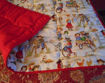 "Handmade Cowgirl Baby Toddler Bed or Crib Size   Quilt Comforter Blanket   36"" X 56 """