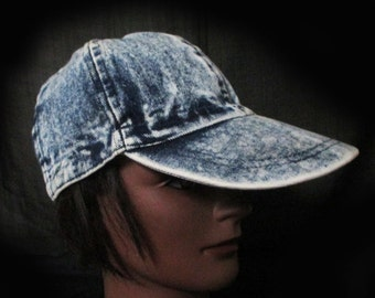 Vintage Duckbill Baseball Hat - 80s Iced Denim Cap - Hip Hop - Rapper