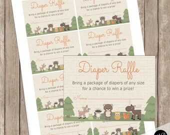 Forest Friends Woodland Baby Shower Diaper Raffle Insert, Forest Animals Baby Shower, bear, deer, Insert Card Raffle INSTANT DOWNLOAD wl3