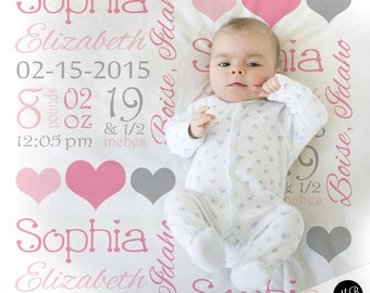Pink and gray baby stats blanket, personalized blanket, stats blanket, girl baby blanket, baby shower gift, receiving, hearts,  1006