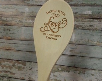 "Personalized Wooden Spoons, Mixed with Love in Kitchen 12"" spoon Laser Engraved for Grandma Mom Bride Gift Hostess GIft  SP0101"