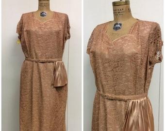 SALE 1950s Party Dress 50s Pink Lace Satin Dress
