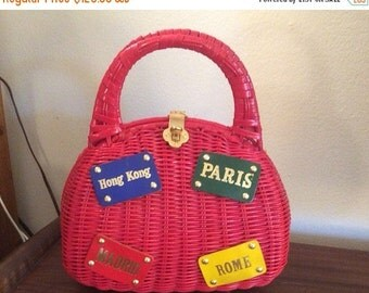 SALE 1950s 1960s Handbag Novelty Travel Wicker Purse 50s 60s Paris Hong Kong Rome Madrid