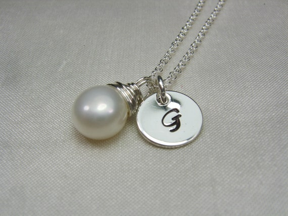 Initial Necklace Personalized Bridesmaid Gift Initial Monogram Necklace Bridesmaid Jewelry Real Pearl Necklace Custom Hand Stamped Jewelry