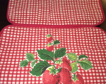 4 Vintage Laura Ashley Strawberries Placemats