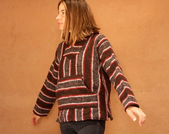 90s black & red SOUTHWEST baja vintage SURF point break PONCHO hoodie