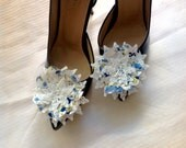 prom,FOR graduations dress shoe, FOR homecoming shoe,  prom shoe Chiffon Floral Shoe buckle - blue flowers