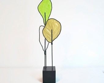 Wire Tree Sculpture - Modern Abstract - Nature Art -Gold White Green