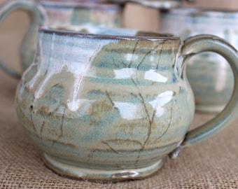 16 oz mug, Unique mugs, Pottery, wheel thrown, stoneware, made to order