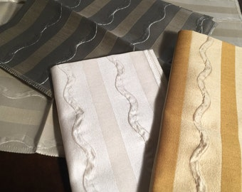 "4 Striped Silk Fabric Samples in White , Cream , Sage , and Golds  with Modern Design- Each Square Measures 18""  x  18"""
