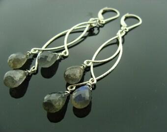 Long Blue Fire Flash Labradorite Chandeliers Sterling Silver Leverback Earrings