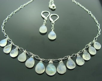 Rainbow Moonstone 925 Sterling Silver Necklace and Earrings Set