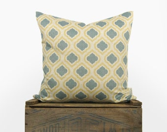 18x18 Decorative Throw Pillow Case   Modern Trellis Pattern in Metallic Gold, Dusty Blue, Yellow and Beige   Moroccan Accent Cushion Cover