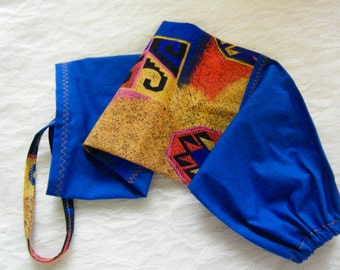 GROCERY BAG HOLDER Plastic Bag Dispenser Western Neon Print Royal Blue