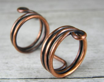 Antiqued Copper Wire Ring, Boho Copper Ring, Copper Wire Ring, Size-7 Copper Wire Ring