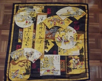Vintage LARGE scarf - beautiful Chinese print - Made in China