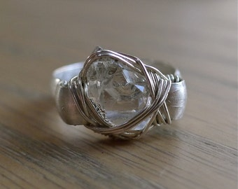 Miniature Herkimer Diamond Crystal in Sterling Silver Wire-Wrapped Ring, Sz. 3