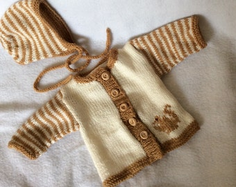 Hand knitted jacket cardigan 0-3months with bonnet