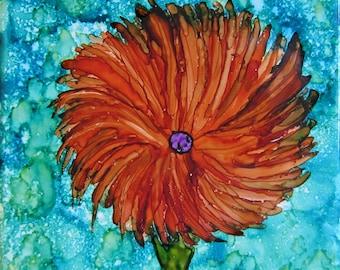 Orange Flower Alcohol Ink on Tile...4.375x4.375 inch ceramic tile