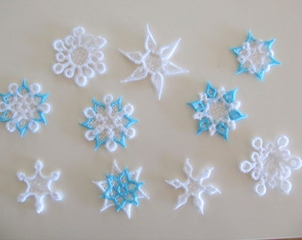 Mini frozen snowflake Freestanding lace embroidery designs, collection, 12 types,  FSL, Free standing embroidery design