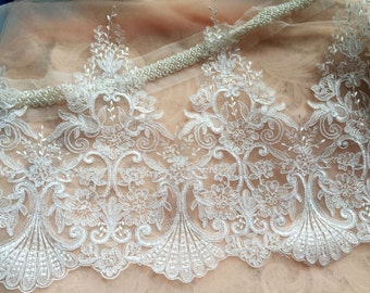 Off White Alencon Lace Trim Luxury Wedding Lace Trim Embroidered Retro Lace Bridal Lace 12.9 Inches Wide 1 Yard
