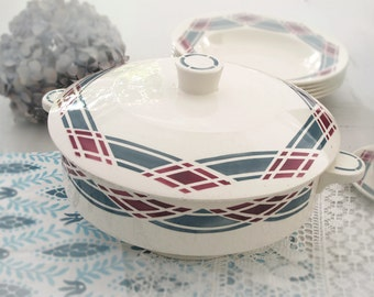 Large french  bowl with cover, diamond and stripes stencil ,French Tureen, blue gray and pink