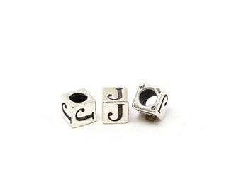 Alphabet Beads Sterling Silver 4mm Alphabet Blocks J - 1pc (3176)/1