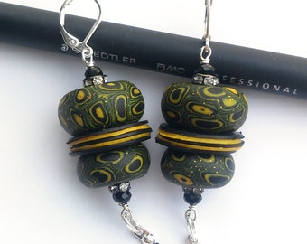 Polymer clay earrings with black ball chain
